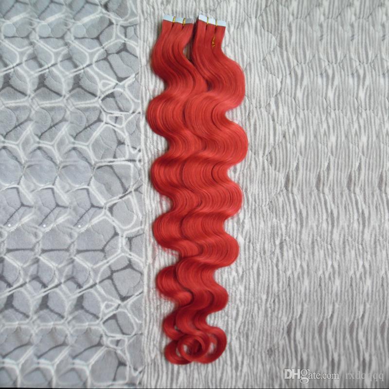 Fita Vermelha Em Extensões de fita do cabelo humano da Onda Do Corpo Humano Do Cabelo Humano 40 pcs Fita da onda do corpo Natural em extensões de cabelo da trama da pele 100g