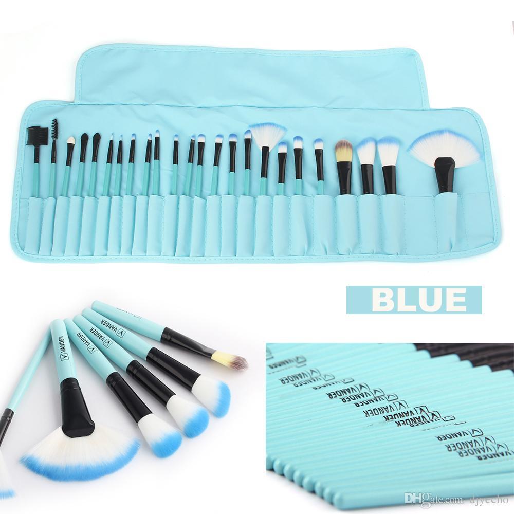 VanderLife Pro 24pcs couleur bleu brosses de brossage de maquillage ensemble