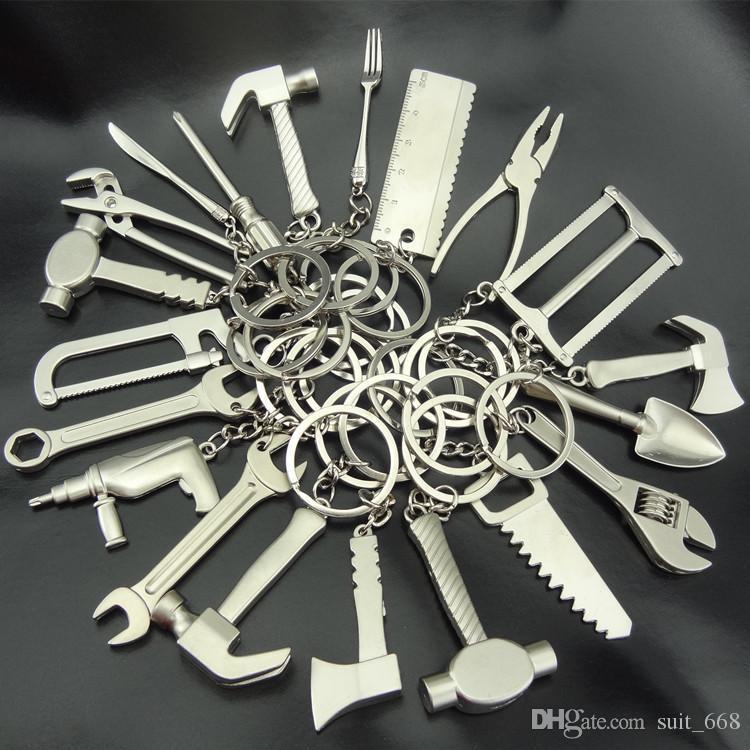 열쇠 고리 열쇠 고리 금속 가위 도구 망치 렌치 펜치 통치자 시뮬레이션 드릴