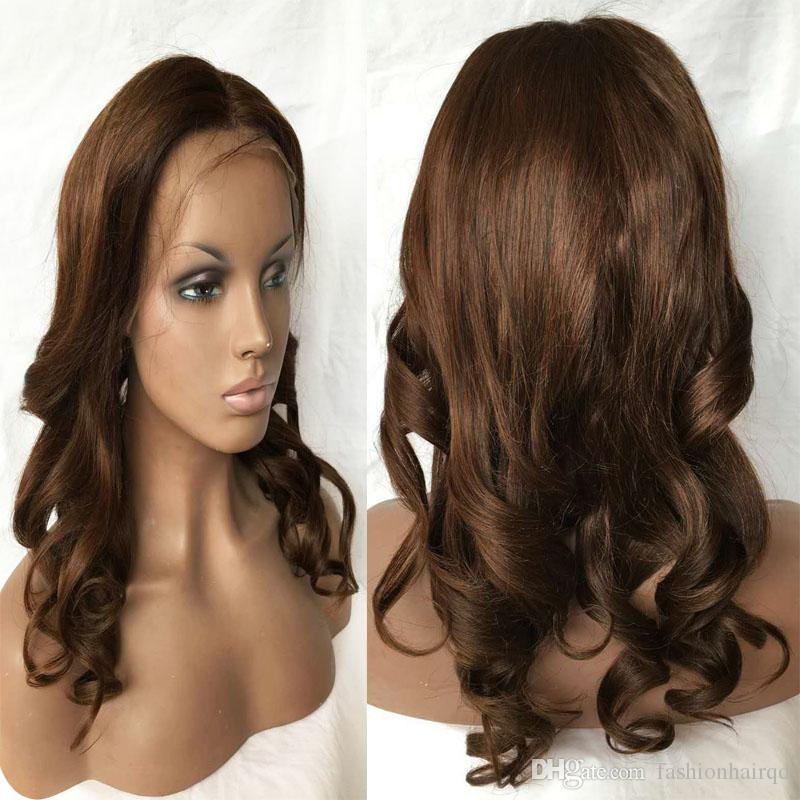 Brazilian Loose Wave Lace Front Wigs #4 Brown Virgin Remy Wet And Wavy Full Lace Human Hair Wigs With Baby Hair Black Brown