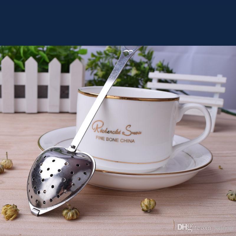 """Tea Time"" Corazón Té Infusor Bolas de filtro Acero inoxidable Tés Coladores Té oblicuo Tubo de té Infusor Steeper al por mayor 3002027"