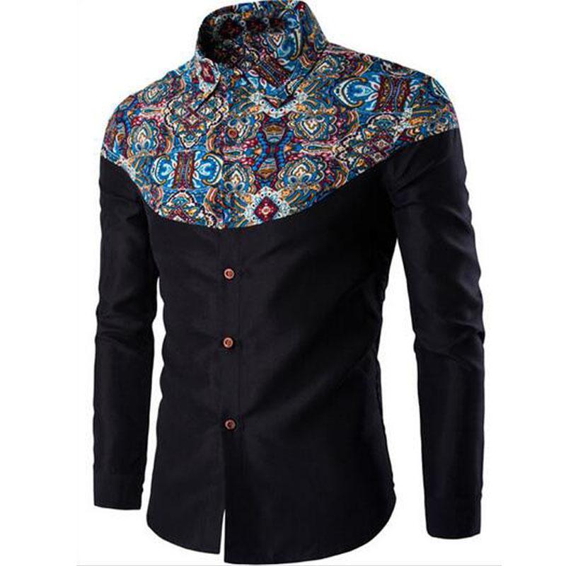 Al por mayor del verano del nuevo Mens de las camisas casuales de la moda de la manga larga Marca Impreso masculino más la camiseta formal Polka Dot vestido floral de negocios Hombres