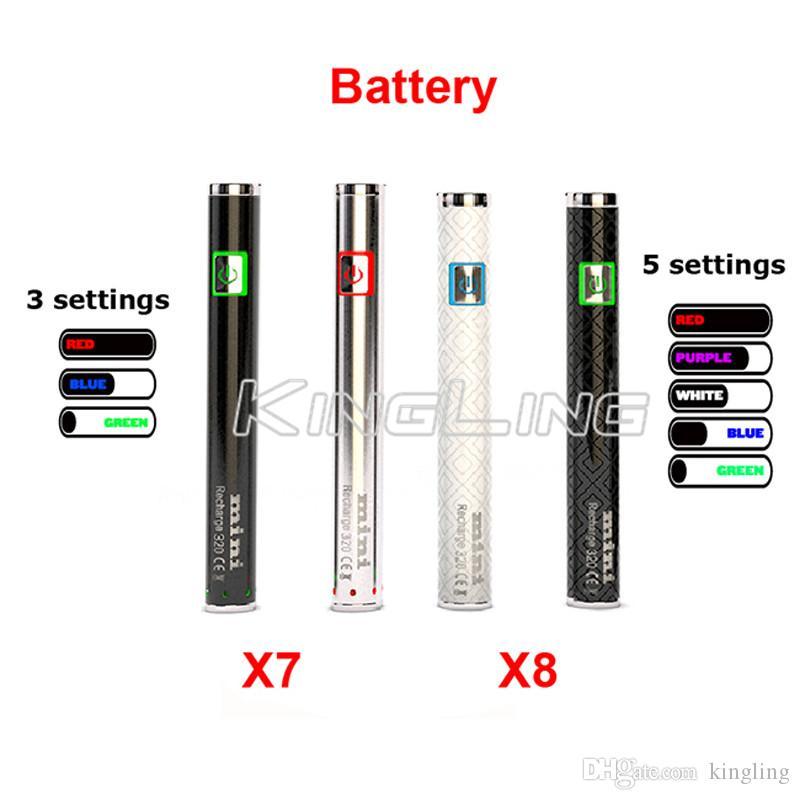 Préchauffage batterie 320mah préchauffage x7 x8 batterie tactile vape o stylo à tension variable préchauffage huile vaporisateur batterie 510 ego fil