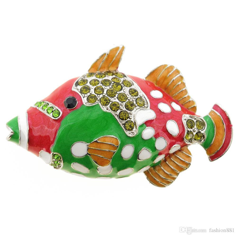 Spilla a forma di pesce Pin smalto di pesce rosso verde cristallo