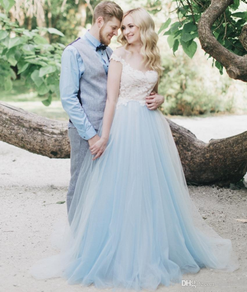 Discount White Lace Blue Tulle Wedding Dress Off The Shoulder ...