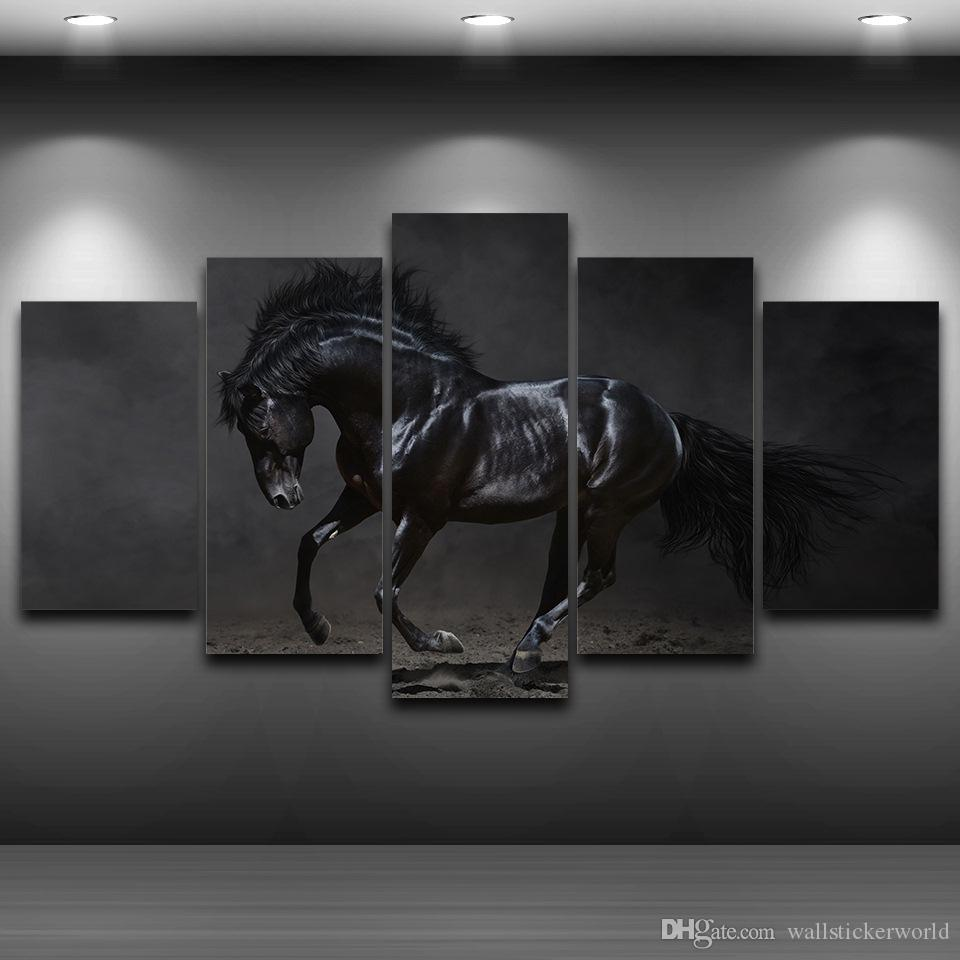 5 Pcs/Set Black Horse Artistic Printed Drawing on Canvas Spray Oil Painting Decoration Framed wall art picture Printed Home Decor