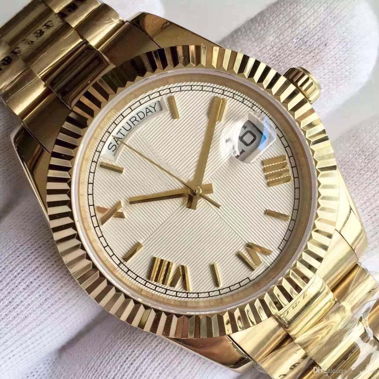 2019 new 18 ct gold DAYDATE 시계 남성 손목 시계 40mm 자동식 기계식 실버 다이얼 스테인레스 스틸 단단한 걸쇠 남자 시계 손목 시계