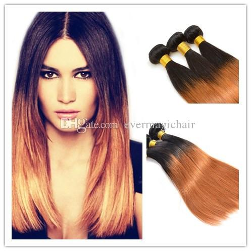 2017 New Arrival Wholesale Price Remy Hair Ombre 1B/30 Straight Hair Weft Human Hair Extensions 100G/Piece