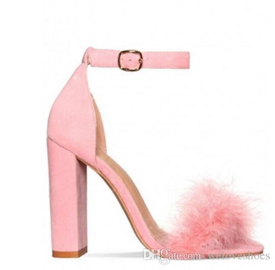 36daf6fe47b09 2017 Fashion Women Chunky Heel Sandals Sexy Party Shoes Fur High Heels Pink  Sandals Wedding Shoes Ladies Black Wedges Platform Shoes From Weloveshoes,  ...