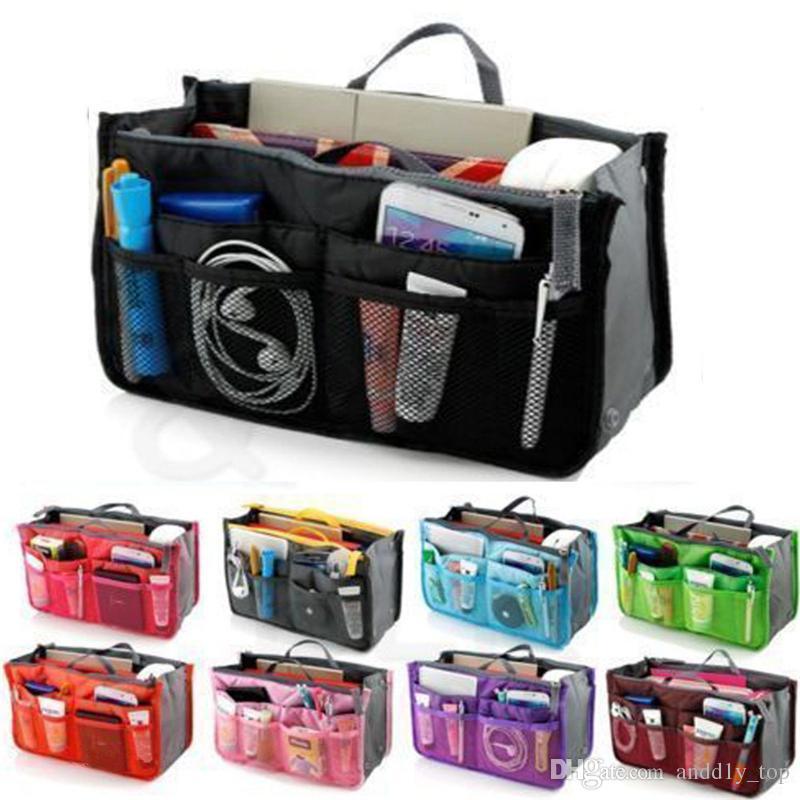 حقائب العالمي مرتب حقيبة مستحضرات التجميل حقيبة منظم الحقيبة حمل نثرية حقيبة التخزين الرئيسية سفر ماكياج إدراج حقيبة يد