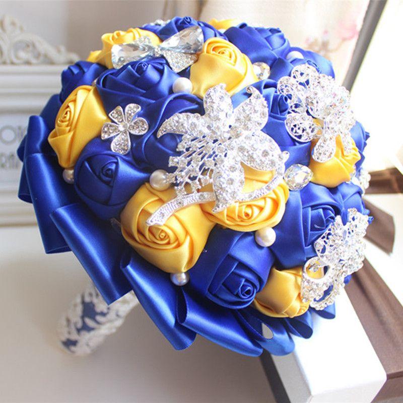 Blue and yellow wedding flower arrangements blue and yellow table blue yellow wedding bouquets 11 8 inch height bride holding flowers mightylinksfo