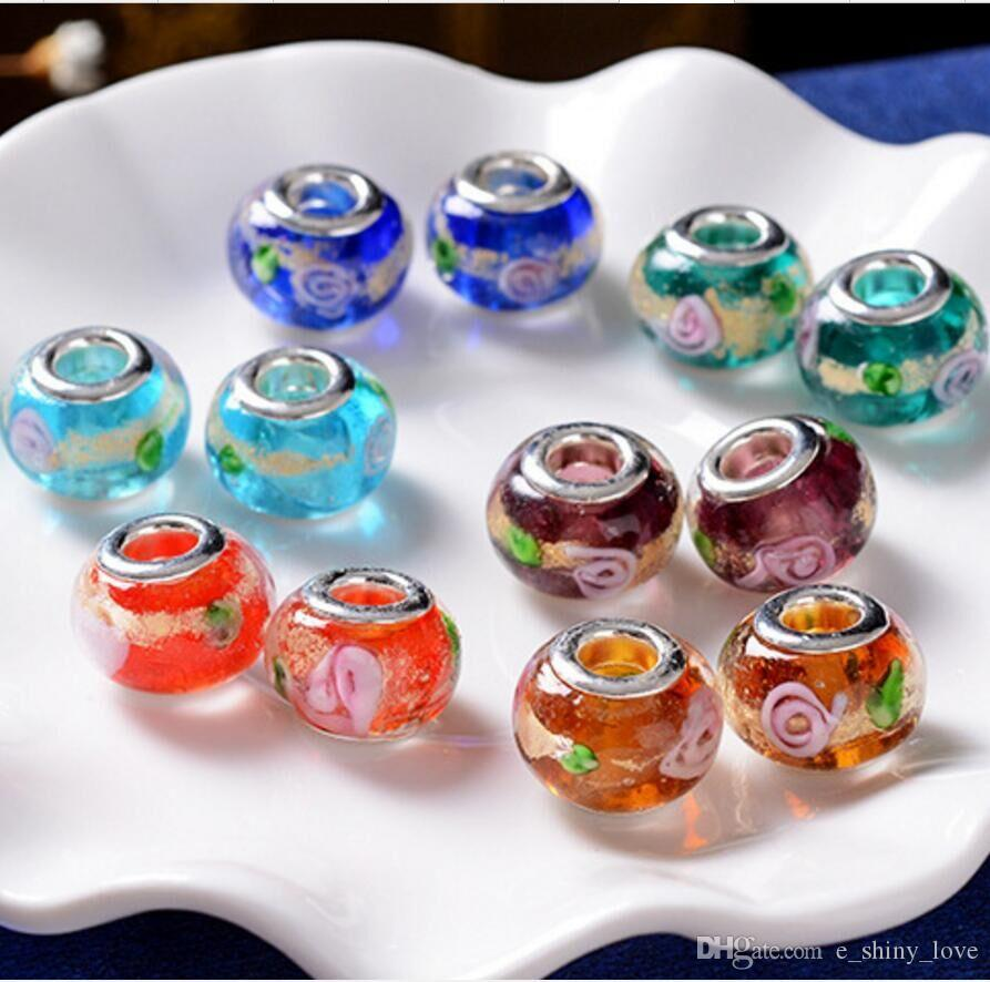 100pcs / Lot Fashion Round Foil Flower Lampwork Glass Big hole Beads Fit European Charm Bracelet DIY Jewelry Gift GB06