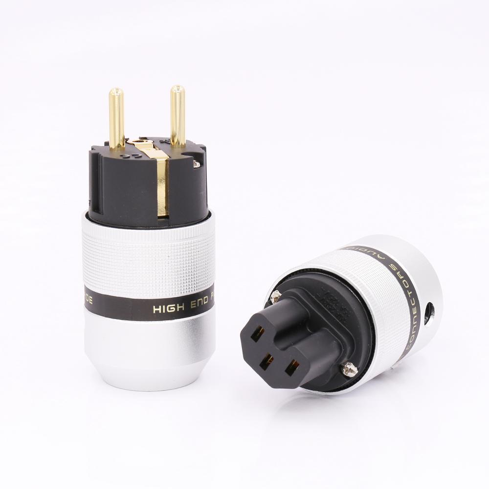 Livraison gratuite 1 paire en laiton plaqué or 24Kg plaqué UE Schuko Prise d'alimentation pour adaptateur d'extension de câble d'alimentation