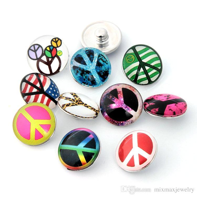 colori assortiti assortiti mix noosa Peace 18mm Bottoni in vetro acrilico Scatta pezzi di ciondolo Gioielli per bracciali nuovi di zecca