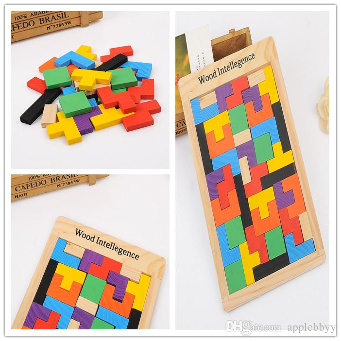 Wooden Russian Tetris Puzzle Jigsaw Intellectual Building Block and Training Toy for Early Education Children wood intellegence Toys