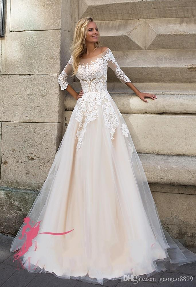 distinctive style performance sportswear coupon code Discount Oksana Mukha 2016 Fall Winter Wedding Dresses A Line Off Shoulder  Illusion Bodice Long Sleeves Sweep Train Wedding Party 2017 Bridal Gowns ...