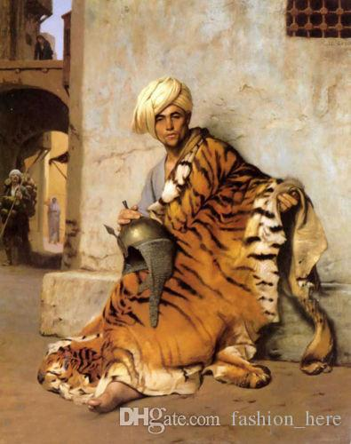 Framed,ARAB MAN AND TIGER SKIN,Pure Handpainted Portrait Art Oil Painting On High Quality Canvas Multi Sizes Free Shipping tn 005