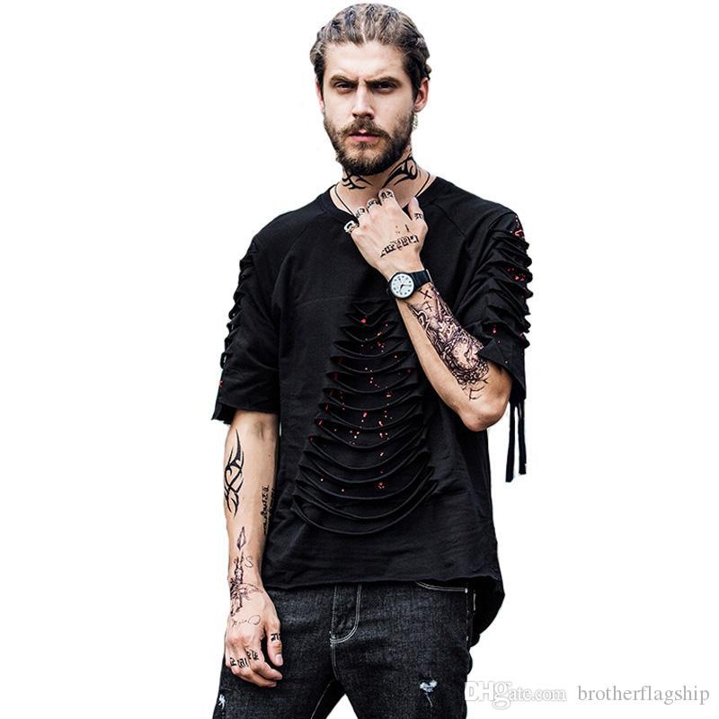 Trous hommes t-shirts hemline shemine shopping coton hip chemise de houle 2017 imprimer mode déchiré lâche palangre urbain prolongé rond wltea