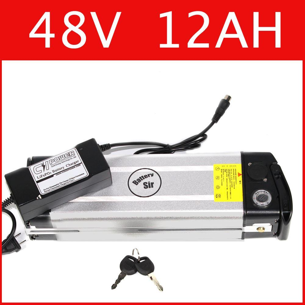 48V 12AH electric bike lithium battery Silver fish battery 54.6V lithium ion battery pack + charger + BMS , Free customs duty