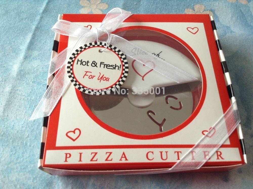 Spedizione gratuita 100 pezzi / lotto bomboniera - Una fetta d'amore per la pizza Cutter per gli ospiti