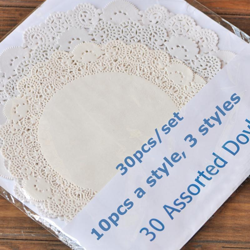 Wholesale- Creative Papre Doylerys Pad 30pcs Round White Paper Lace Doilies Cake Placemat Party Wedding Gift Decoration