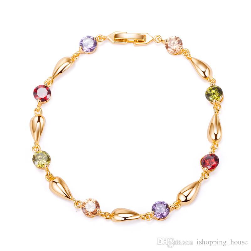 Charme Schmuck 18 Karat Gelbgold Überzogene Top Qualität CZ Waterdrop Armband Armreif für Mädchen Frauen für Party SL0071