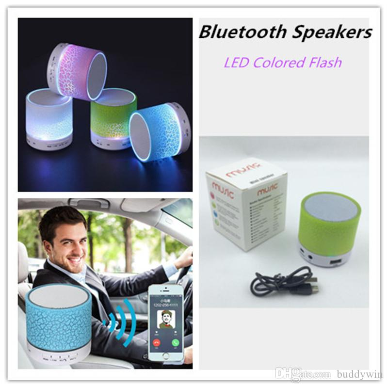 LED Crackle Bluetooth Speaker Mini Wireless Estéreo Bluetooth Speaker Support Tarjeta TF, USB, Radio FM con MIC con caja de venta al por menor de 6 colores
