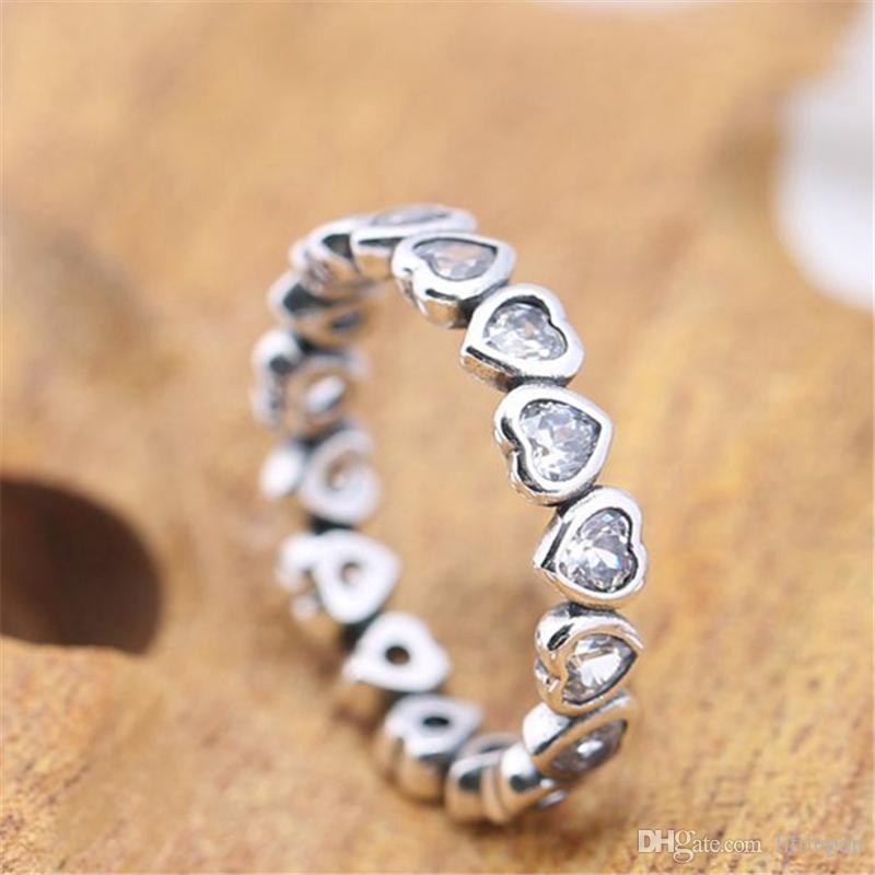 Charm Ring Size Marked Little Heart Crystal Solid 925 Sterling Silver European Style Jewelry Findings For Pandora