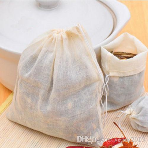 Wholesale Hot Sale Portable 100pc 8x10cm Cotton Muslin Reusable Drawstring Bags Packing Bath Soap Herbs Filter Tea Bags