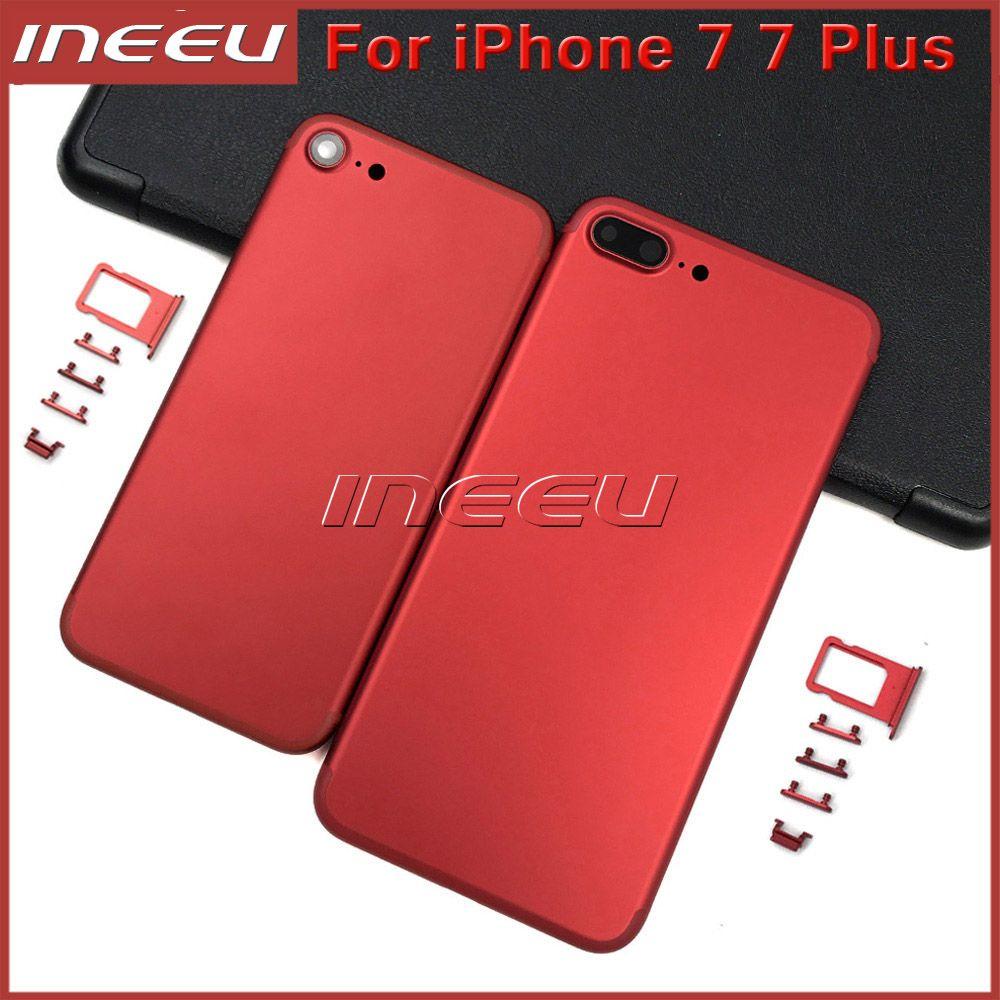 Nuova custodia Full Red di colore per iPhone 7 7Plus Alluminio di ricambio per porta batteria coperchio nero opaco