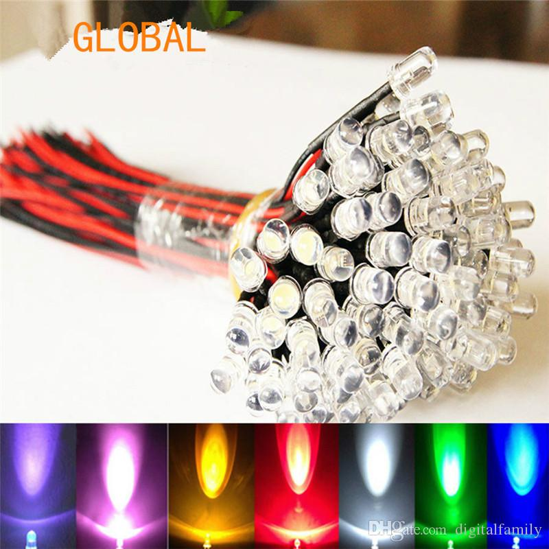 9V~12V LED 3mm Pre-Wired Prewired Ultra Bright Colours Light Lamp Bulb LED Set Light Lamp Bulb white 20cm Prewired 100pcs/lot