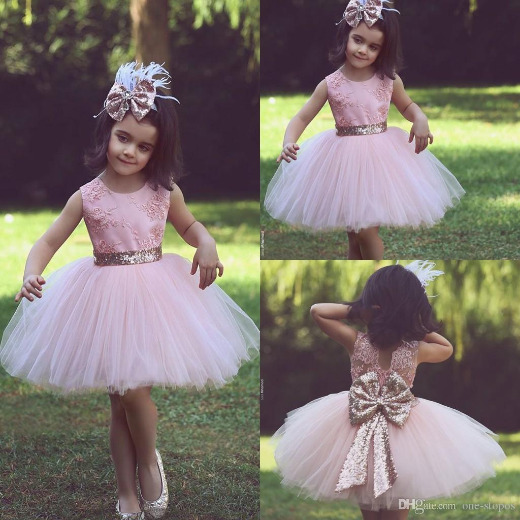 Short Pink Tulle Ball Gowns Girls Pageant Dresses 2017 Embroidery Jewel Gold Sequin Bow Children Birthday Party Flower Little Girl Dress