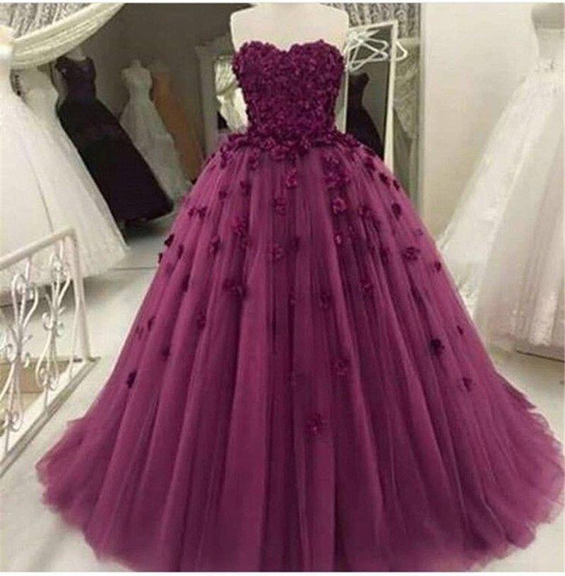 Vestiti Cerimonia Donna.Evening Dresses Long 2019 Abiti Da Cerimonia Donna Purple Tulle