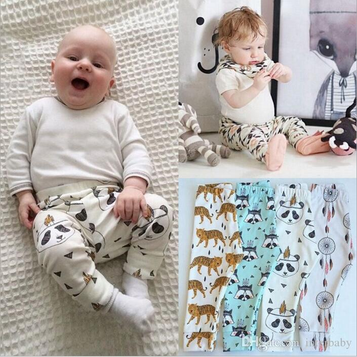 Roupa dos miúdos PP Calças Do Bebê Ins Xmas Harem Pants Criança Algodão Moda Calças Meninos Limão Leggings Menina Raposa Calças Justas Dinossauro Frutas Pant B3209