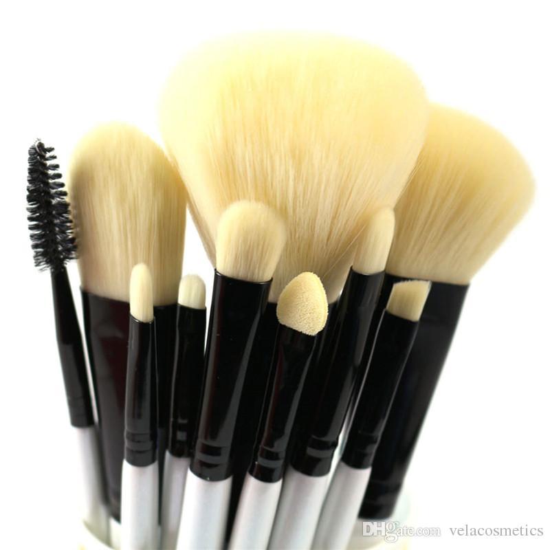 10pcs 메이크업 브러쉬 세트 소프트 비건 합성 파우더 파운데이션 블러쉬 브론저 아이 섀도우 아이 라이너 아이 브로우 아이 브로치 립글로스 화장품 툴