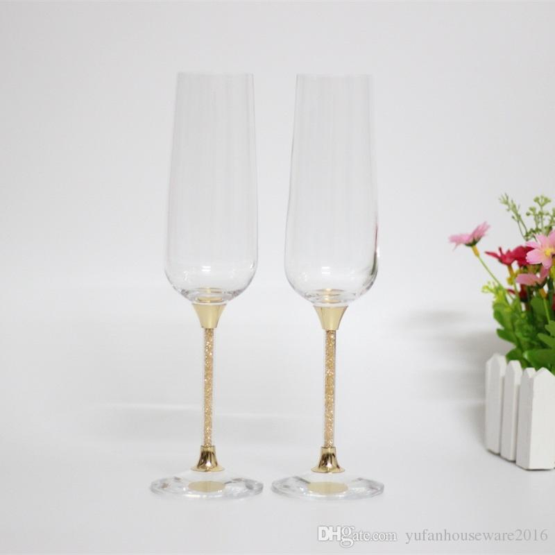 2017 hot sales crystal toasting wedding wine glasses set gold stemware champagne flutes home and bar use drinking glass cup
