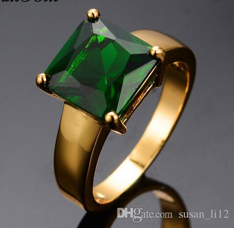 86ddd2e4e899e 2019 Retro Green Square Zircon Stone Rings For Women Men Yellow Gold Filled  Wedding Party Finger Ring Vintage Jewelry From Susan_li12, $11.22 | ...