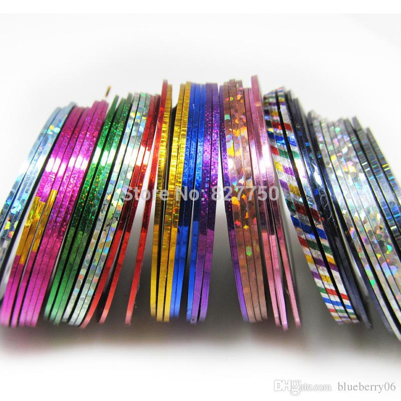 Nueva Moda 100 Unids / lote Colores Mezclados Nail Art Tips Decoración Etiqueta Striping Tape Line Alta Calidad