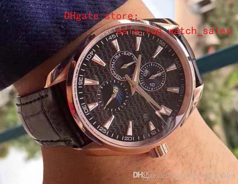 última versión dial negro Mecánico Fecha automática semana diseño Caja de reloj oro rosa Maquinaria automática Relojes para hombres