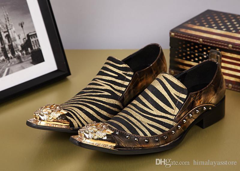 Hot Summer Style Mens неподдельной кожи ботинок платья способа вскользь зебра скольжения на обувь Мужчины British Style Club обувь