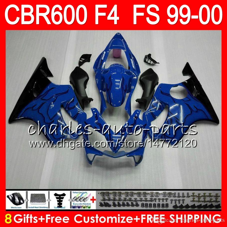 8Gifts 23Colors Bodywork For HONDA CBR600 F4 1999 2000 CBR 600F4 30NO72 blue black CBR600F4 99 00 CBR 600 F4 99-00 CBR600FS FS Fairing Kit