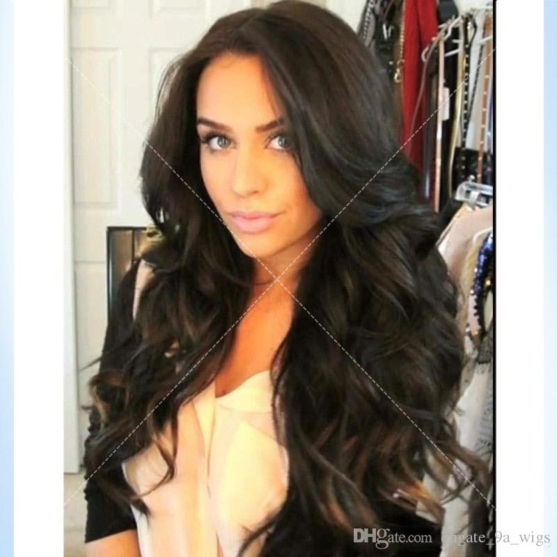 Parrucca piena del merletto dei capelli umani di parrucca piena del merletto dei capelli umani di 130 capelli umani di densità per le parrucche brasiliane dei capelli del Virgin delle donne nere Modo