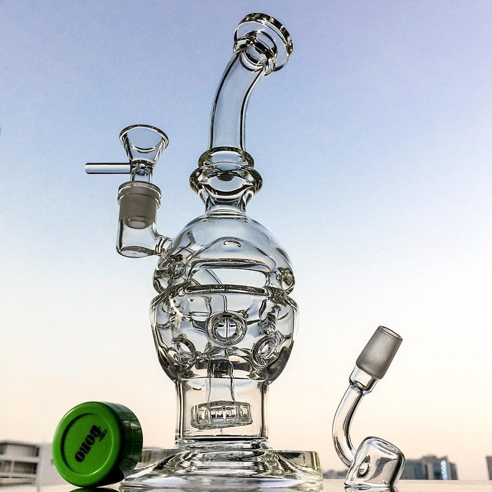2020 Cancella acqua di vetro Bongs Doccia Doccia Perc Recycler Fab Egg Oil DAB STRS SWISS PERC BUBBLELER14mmFemale Giunto con ciotola Tubi d'acqua