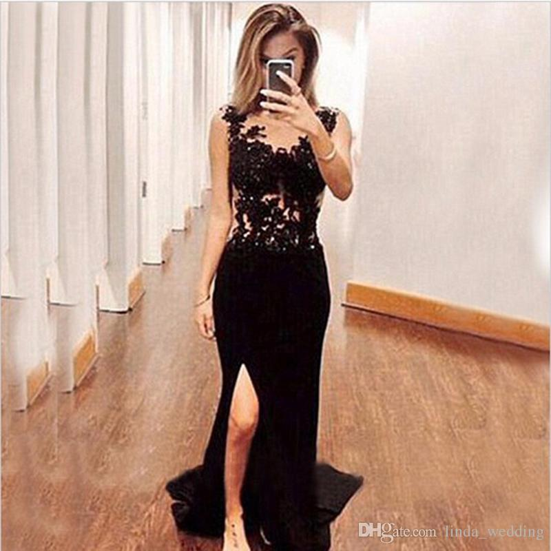 Sexy Long Black Mermaid Prom Dress Cheap Side Slit Appliques Lace Formal Evening Party Gown Custom Made Plus Size