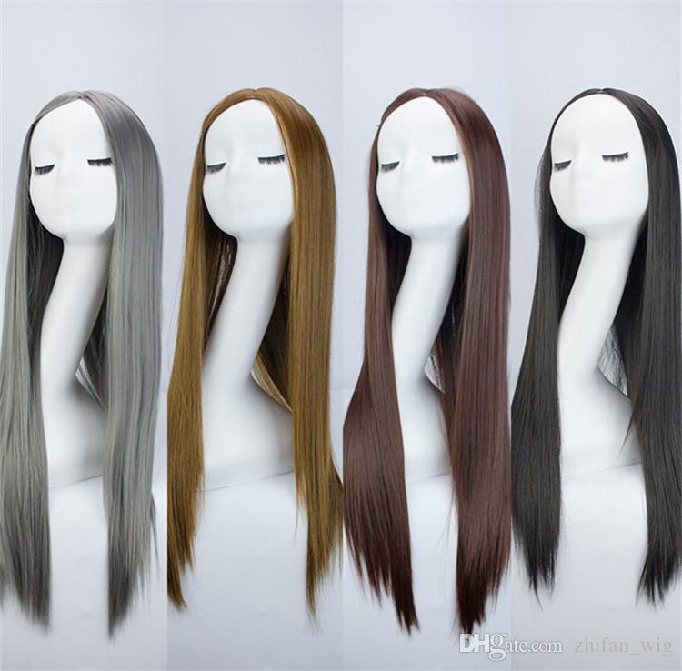 ZF Harajuku Style GrannyHair 75 cm Longue Cosplay Perruque Cos Cheveux Matte Haute Température Fibre Brun Gris Noir De Mode