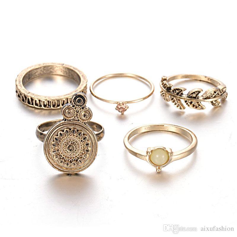 5pcs 반지 세트 패션 복원 고대 방법 도금 합금 잎 개성 조합 진주 반지 도매 여성 반지 보석 세트