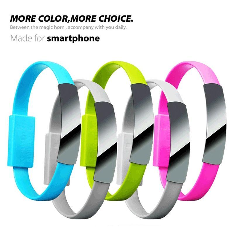 Оптовая продажа 100 шт. / лот короткий плоский браслет Браслет магнитный USB кабель браслет 2.0 синхронизация данных зарядное устройство кабель для android смартфона