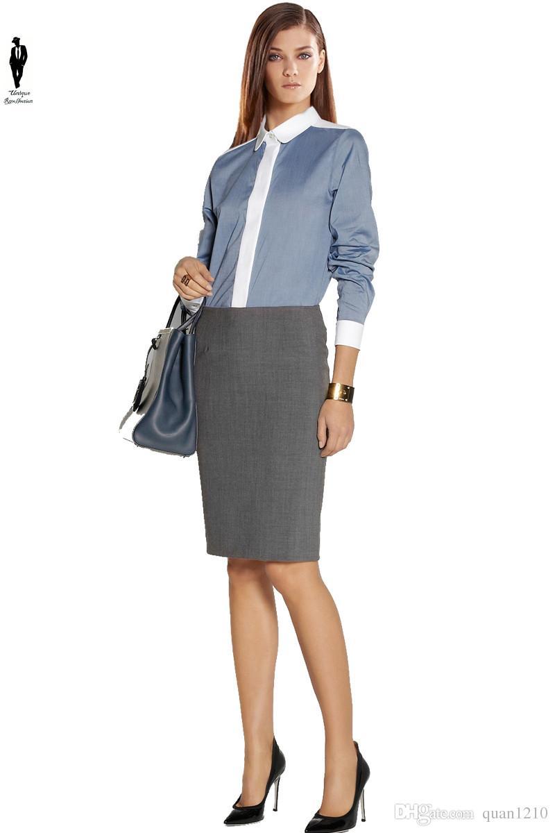 de5595199 Compre UR Elegante Gris Moda Formal Oficina De Oficina Uniforme Falda De  Cintura Alta Mujeres Diseños Profesional Lápiz Falda Una Línea Falda A ...