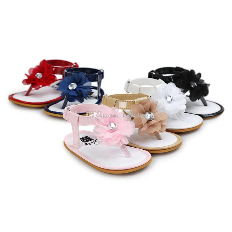 10 colors Baby Girls flower thong sandals pu soft sole toe-knob sandals infants summer cute fashion moccasins first walkers for 0-2T