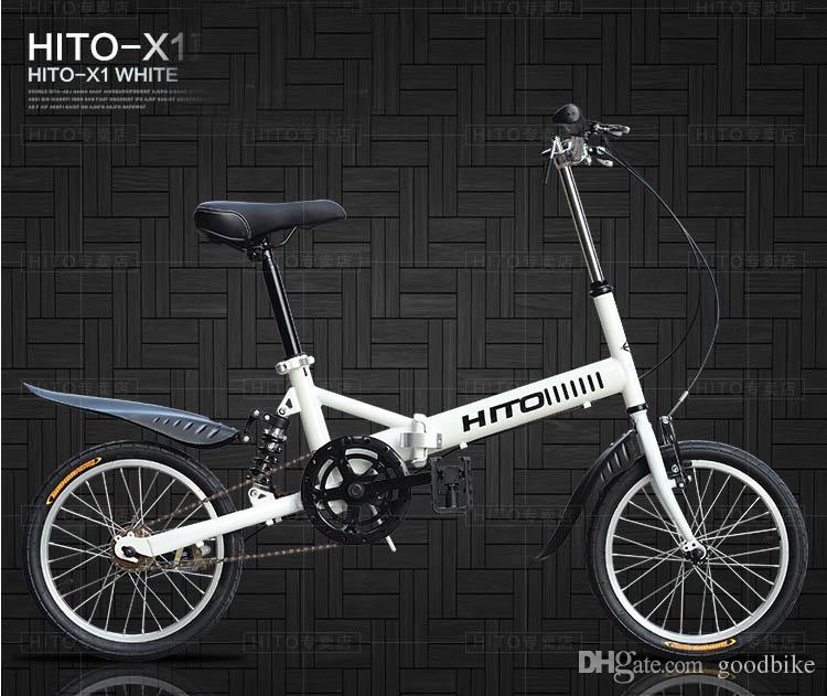 Hito Bike 16 Inch Folding Bicycle Steel Frame Mountain Bike 6 Speed ...